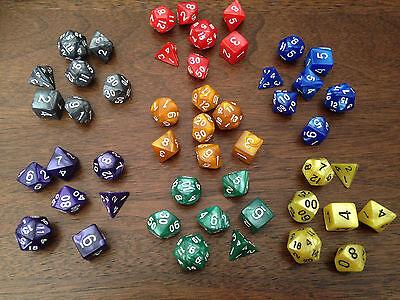 Multi sided dice set of 7 D4 D6 D8 D10 D12 D20 Dungeons D&D RPG Warhammer Pop