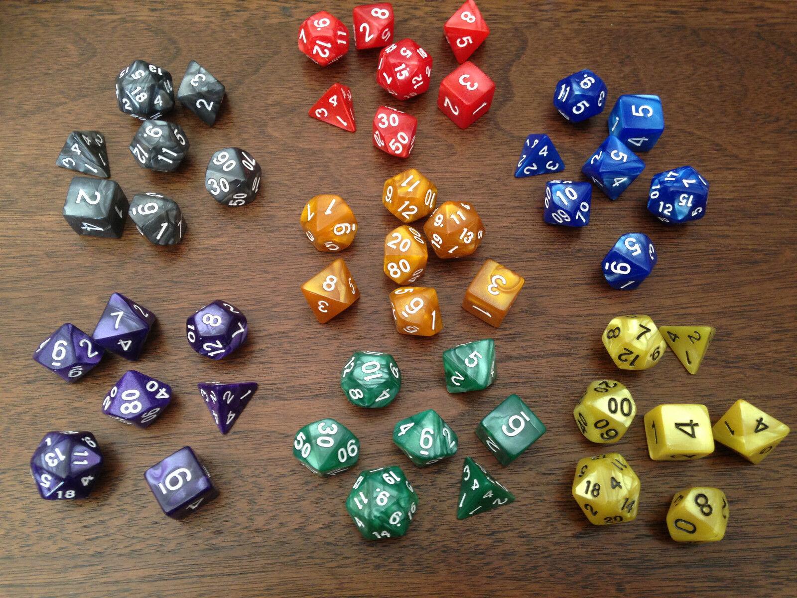 Perle Mehrseitige Würfel Set von 7 D4 D6 D8 D10 D12 D20 Dungeons D & D RPG