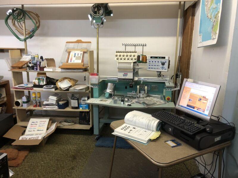 Tajima TMEX-C1201 Industrial Embroidery Sewing Machine Station With Accessories