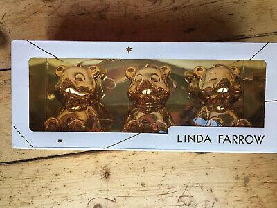 Linda Farrow, Julian The Bear baubles, Set Of 3 In Gold (Julian Bear)
