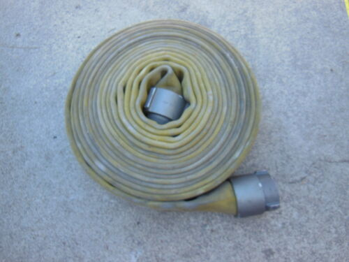 """YELLOW double Jacket FIRE HOSE 3"""" x 50 ft. with Red Head NH Aluminum Couplings"""