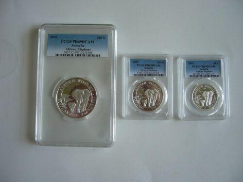 2015 Somalia Elephant (3 coin silver Rare Proof set) All PCGS PR69 DCAM!