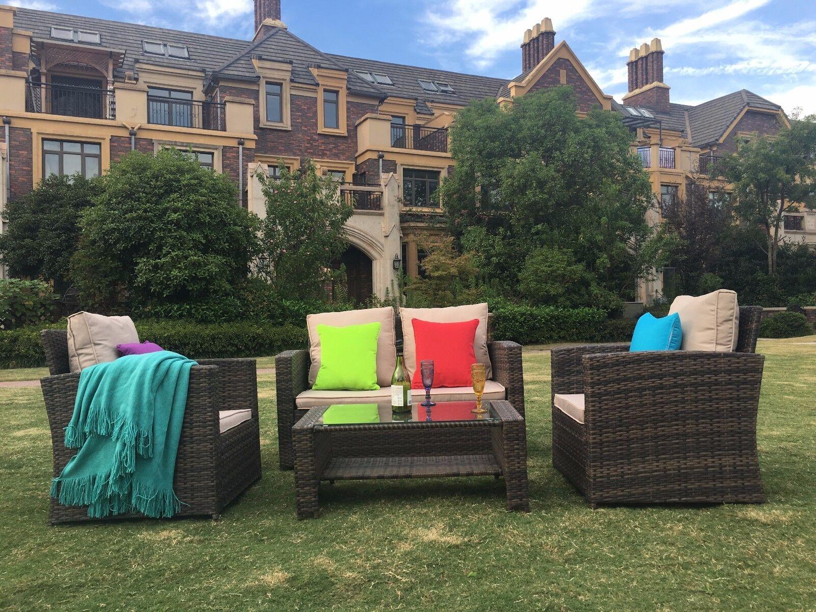 Garden Furniture - Conservatory 4 Piece Rattan Sofa Garden Furniture Patio Set Table Chair Brown