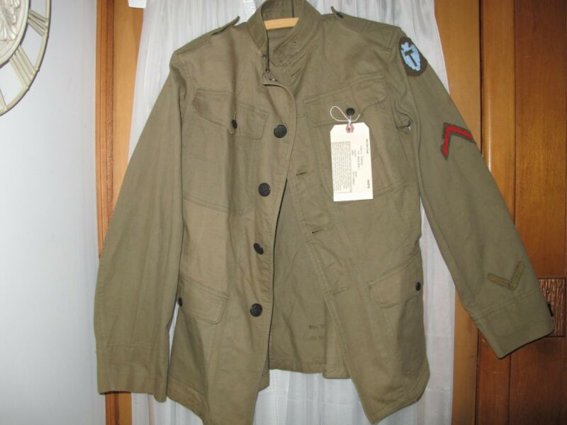 WW1 US Army Cotton Service Coat 1911 Rimmed Eagle Buttons 36th Division Honorabl