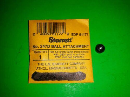 "STARRETT  NO. 247D BALL ATTACHMENT .200"" BALL .250 ANVIL"