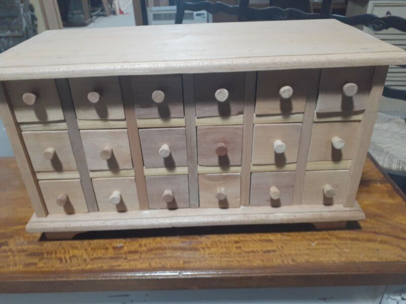 18 Drawer Apothecary, Spice / Jewlery Chest - Unfinished, Muticolored Drawers