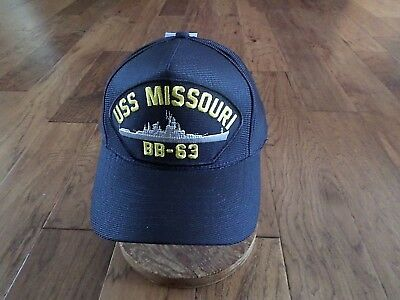 USS MISSOURI BB-63 U.S NAVY SHIP HAT OFFICIAL U.S MILITARY BALL CAP U.S.A MADE (Ball Cap Navy)