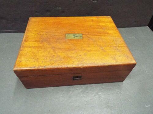 19th CENTURY MAHOGANY TRAVEL WOOD LAP DESK WRITING SLOPE