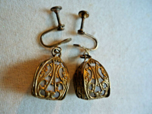 VINTAGE VICTORIAN FILIGREE EARRINGS - WITH PERFUME BALLS, DANGLE, LOVELY