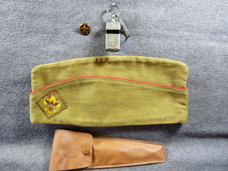 BOY SCOUT Lot - Garrison Cap - Cutlery Set - Whistle - Early Pinback