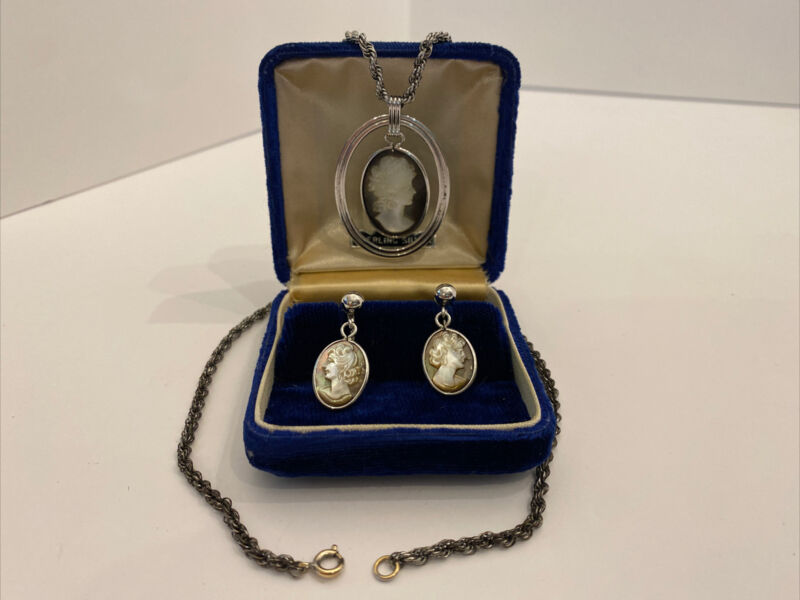 """Vintage Van Dell Sterling Cameo 18"""" Necklace Pendant Screw Back Earrings"""