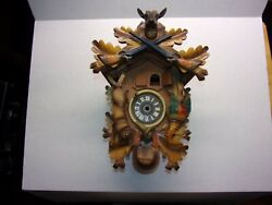 Cuckoo Clock Case Hunters Style with Topper/Crown, for Parts / Repair