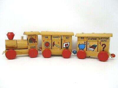 Vintage Wood Block Train Alphabet Blocks