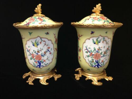 Rare Antique French Porcelain Urns Vases Ormolu Mounted 19th C Kakiemon Pattern