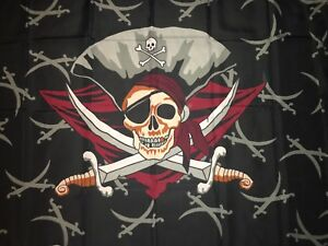 Flag with Pirate Skull and crossbones and bandana and swords
