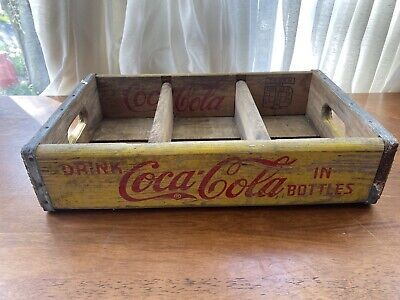 "VINTAGE COCA COLA YELLOW WOODEN BOX CRATE CASE BOTTLE CARRIER (18"" x 12"" x 4"")"