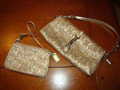 Coach Metallic Signature Baguette Demi Clip Small Bag Purse gold with wallett