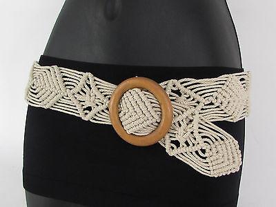 Women Beige White Brown Knited Braided Fabric Fashion Belt Round Wood Buckle S M ()