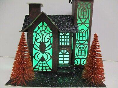 Light-Up Haunted House w/ bottle brush trees Halloween Village decor~ Orange