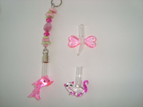 Custom made Name on Rice Key ring Pink dolphin Cat or dragonfly vial pink green