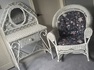 Wicker rocking chair and vanity set with removable cushions