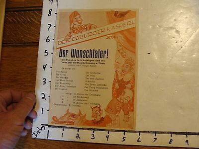 Vintage MARIONETTE Paper: early German DER WUNSCHTALER thin paper hand bill WOW