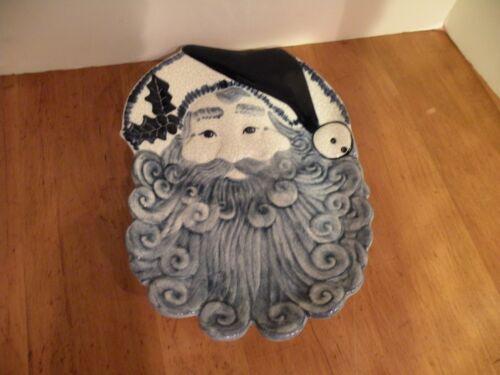 "Dedham Pottery Potting Shed Crackle glaze Santa Cookie Dish 12 1/4"" by 8 5/8"""
