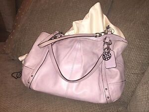 Large leather Coach purse -lavender
