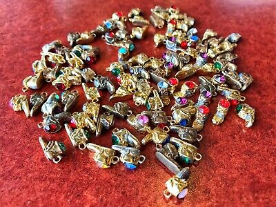 Lot of 100 GOLD PLATED Baby Shoe Boot Birthstone Crystal Charm Junk Drawer Bulk ()