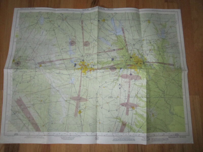 "1956 DALLAS AERONAUTICAL CHART MAP - 28 1/2"" X 22"" - TUB RH-3"