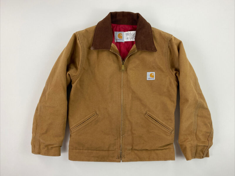 CARHARTT - Youth Boys Size 10 - Brown Canvas Workwear Jacket GUC