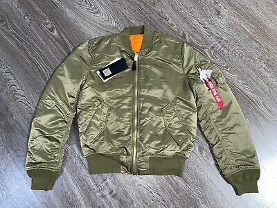 Men's Alpha Industries MA-1 Slim Fit Bomber Flight Jacket Vintage Olive Size L