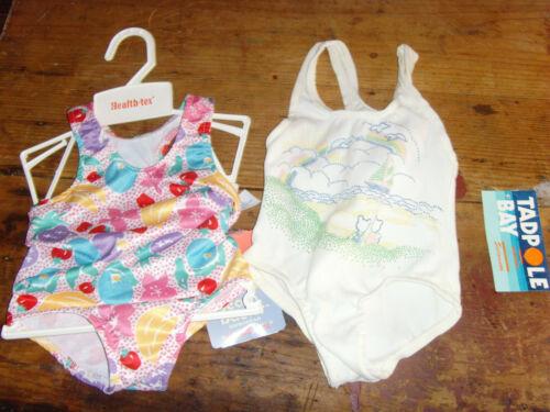 Vintage NWT NOS 18 mo baby girl swimsuit set Health-tex & Tadpole Bay retro swim