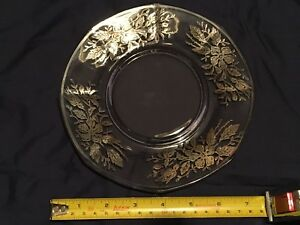 Antique glass side plate with Sterling silver onlay