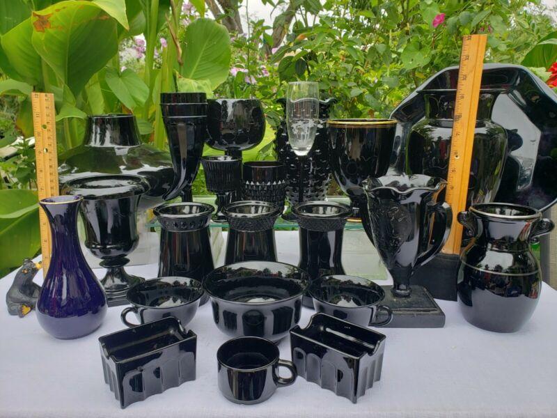 Vintage Smith Art Deco Black Amethyst Depression Glass lot