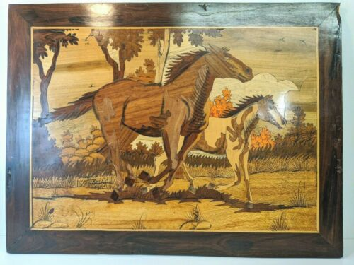 Large Vintage Lacquered Wood Inlay Marquetry Horses Intricate Landscape Art