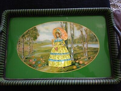 VINTAGE WOODEN GLASS AND FOIL TEA TRAY CRINOLINE LADY