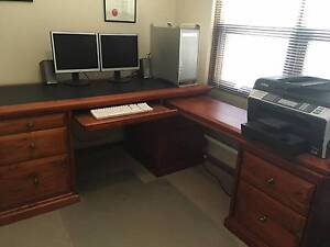 Solid wooden antique style desk with return Panorama Mitcham Area Preview
