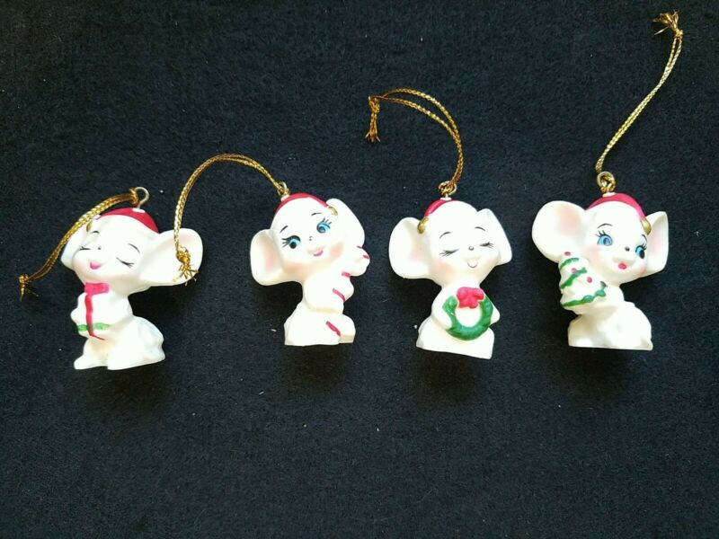 Vtg White Mouse Mice w/Presents Candy ECT. Hard Plastic Christmas Ornaments Lot
