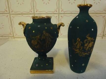 Vintage Mini Limoges urn and vase emerald green and gold