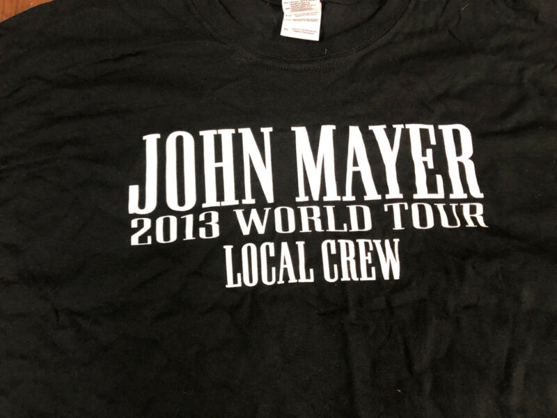 Vintage T Shirt - John Mayer World Tour Local Crew Black Concert 2013 XL