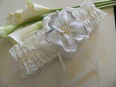Silk Wedding Garter (WEDDING GARTER IVORY  SATIN - SILK AND LACE BEADED FLOWER  )
