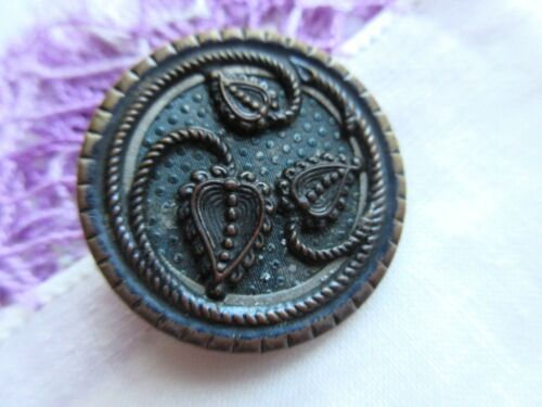 6233 – Victorian Dimpled Celluloid Winding Leaves Motif Antique Button, 1-3/16""