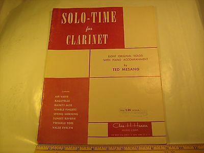 Vintage Sheet Music SOLO-TIME FOR CLARINET 1955 Ted Mesang [Y112]