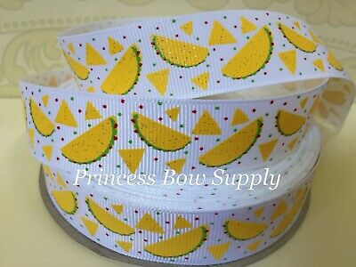 "3 yards 7/8"" taco food white ribbon glitter USDR ribbon hair bow supplies for sale  Hanford"