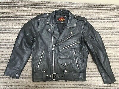 "London Leather Classic Black Biker Motorcycle Jacket 40"" Chest"