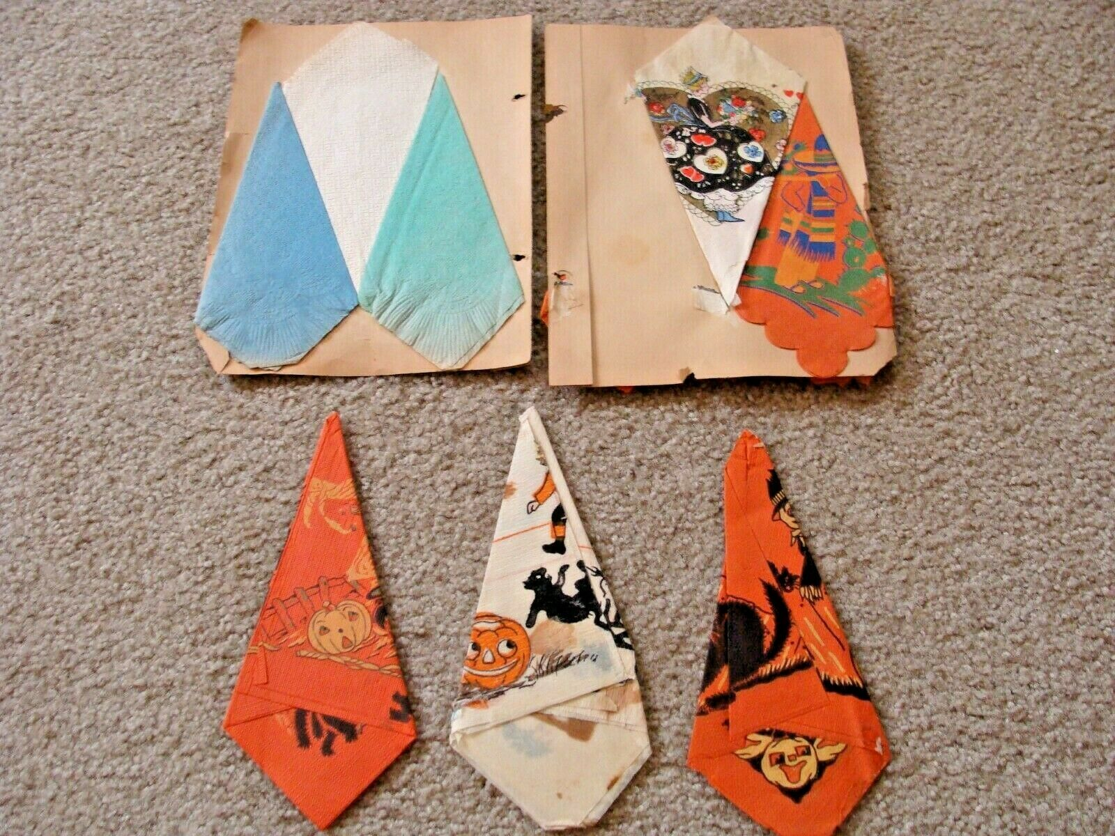6 Antique Halloween Crepe Paper Napkins Beistle Witches, Bats Cats Collection - $29.95