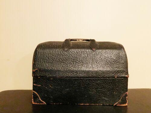 Vintage Schell Doctors Bag Black Leather Satchel Medicine Bottles + Instruments
