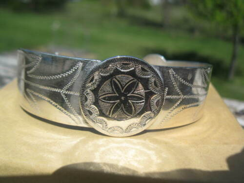 Restored repaired 1880s Navajo rocker engraved coin silver bracelet