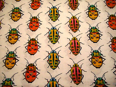 Childrens Fabric By Yard Org Yello Pnk Blu Bug White Michael Miller Cotton - Kids Blu Bugs